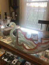 Load image into Gallery viewer, Mid Century Modern Hand Blown Glass Murano Style Swan Bowl Beautiful Candy Swirl