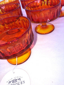 Set Of Fenton Glass Amberina Ribbed Pedestal Sherbet Glasses Each Perfect 3.5""
