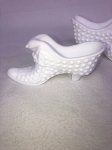 "Vintage Milk Glass Fenton Hobnail Shoe Kitch Boho Chic Cool Hipster Hippy 3""x6"""