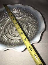 "Load image into Gallery viewer, Vintage Fenton Moonstone Opalescent Hobnail Glass Bowl Ruffled Edge 9.5"" Across"