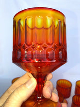 "Load image into Gallery viewer, Set Of 8 Fenton Glass Amberina Ribbed Pedestal Goblets 5.5"" Tall Each Perfect"