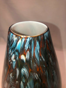 "Vintage Hand Blown Art Glass Vase Confetti Studio 13.5"" Tall"