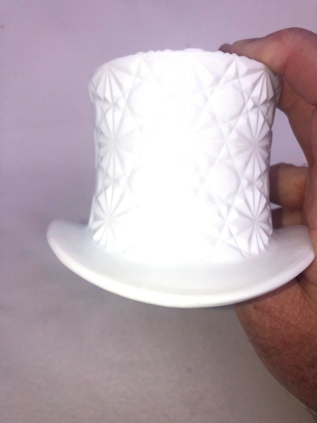 Milk Glass Fenton Top Hat Kitch Retro Vintage Boho Chic Hipster Hippie Mod 3.5""