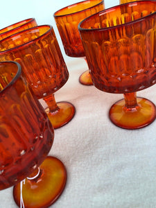 "Set Of 8 Fenton Glass Amberina Ribbed Pedestal Goblets 5.5"" Tall Each Perfect"