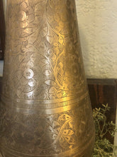 Load image into Gallery viewer, Vintage Brass Urns Vases Etched 19 Inches Tall Set Of Two 60s 70s Moroccan Style