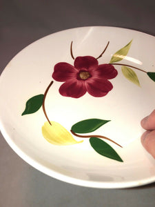 VINTAGE STETSON CHINA RIO RED FLORAL HAND PAINTED SERVING BOWL 8""