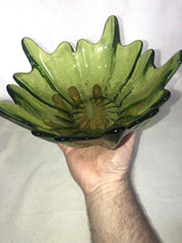 "Load image into Gallery viewer, Viking Art Glass Green Mid Century Lotus Bowl Iridescent Sheen 10"" Across Eames"