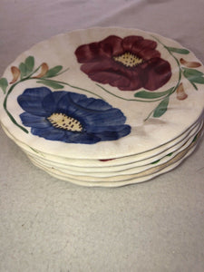 Blue Ridge Southern Potteries Becky Hand Painted Set Of 6 Saucers 5.75""