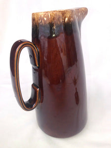 "Vintage Hull Brown Glazed Ovenproof USA 11"" Coffee Pot Pitcher Lid Drip Ware"