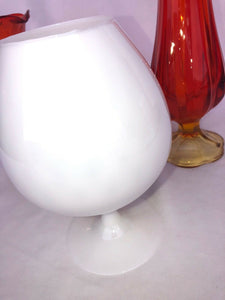 Vintage Hand Blown Opaque White Brandy Snifter Art Glass Mid Mod Eames Era 9""