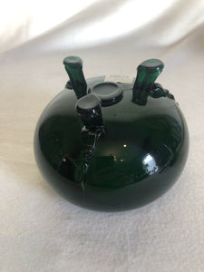 Vintage Forest Green Art Glass Bowl On 3 Feet Molded MCM Eames Era Atomic Cool
