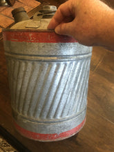 Load image into Gallery viewer, Old Irionsides 5 Gal Gas Can Galvanized Fantastic Condition Man Cave Gas And Oil