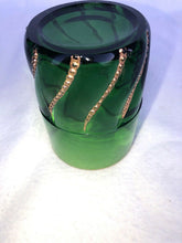 "Load image into Gallery viewer, Dunkin Circa 1890 Green And Gold Tumbler 3.75"" Hand Blown"
