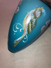 Load image into Gallery viewer, Fenton Blue Amphora Tropical Bird Vase w/ Stand QVC Signed Hand Painted & Box