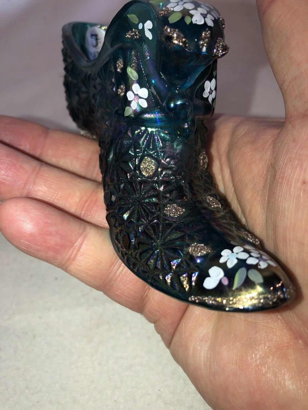Fenton Blue Iridescent Carnival Cat's Head Slipper Hand Painted Artist Signed