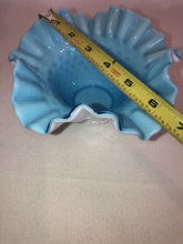 "Load image into Gallery viewer, Beautiful Fenton Overlay Bowl Light Blue Over Milk Glass Hobnail 7"" Across Wow!"