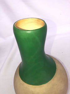 WELLER Pottery 1930's OLLAS Rustic Primitive Green Indian Gourd Shaped Vase
