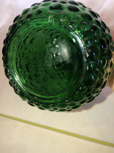 "Eames Era Vintage Empoli Made in Italy Pressed Emerald Green Glass 22"" Decanter Stopper"