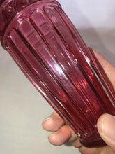 Load image into Gallery viewer, Cranberry Glass Vase With Ruffled Top Edge 7 1/2 Inches Tall