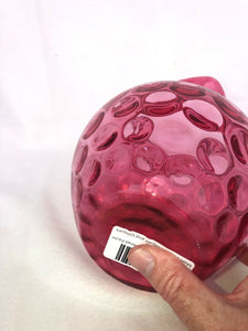 "Cranberry Glass Coin Dot Or Thumb Print Pitcher About 9"" Elegant Hand Blown"