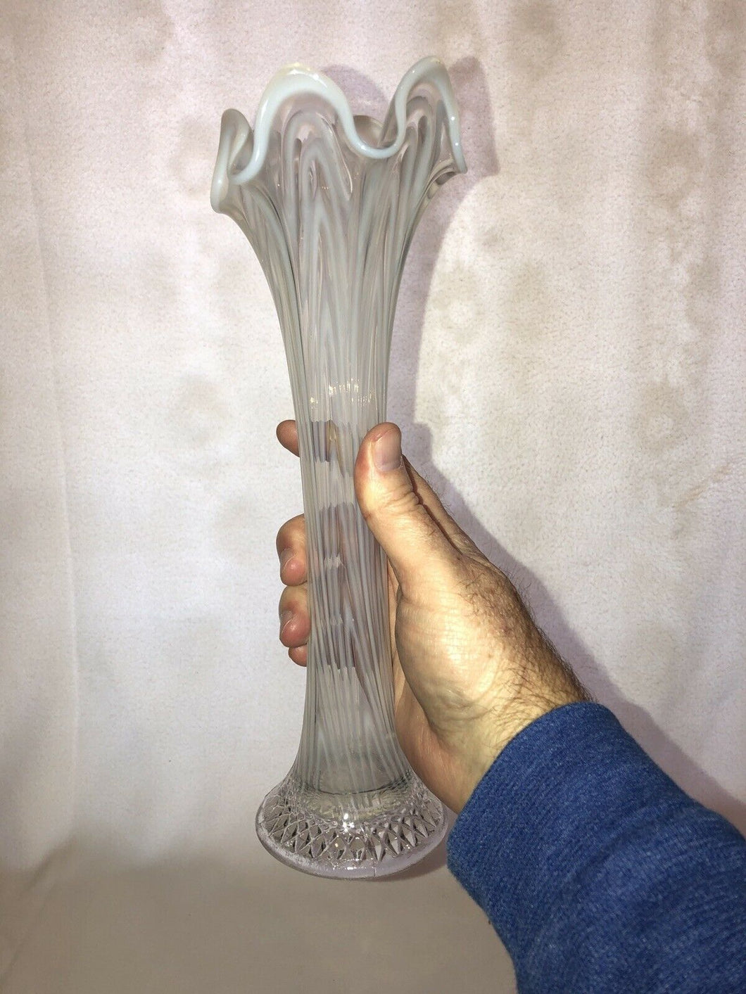 "Vintage Fenton White Opalescent Art Glass Stretched Rib Vase 12"" Fantastic Look!"