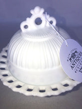 "Load image into Gallery viewer, Vintage Lace Edge Pedestal Footed Milk Glass Dish Bowl Candy With Cover 6"" Tall"