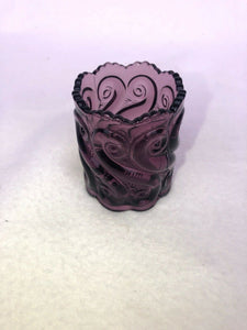 Vintage LG Wright S REPEAT Amethyst Purple Art Glass Toothpick Holder