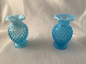 Blue Fenton Hobnail Vase Fantastic Vintage Crimped Edge Perfect Gift Boho Chic