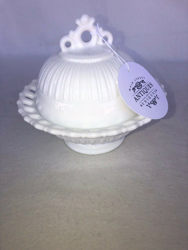 "Vintage Lace Edge Pedestal Footed Milk Glass Dish Bowl Candy With Cover 6"" Tall"