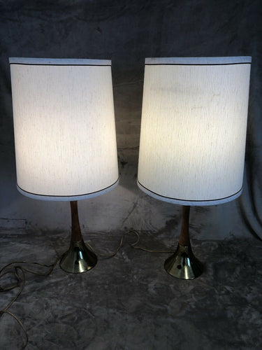 "A Pair Of Mid Century Danish Modern Atomic Teak & Brass 30"" Tall With Shades"
