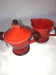 Metlox Poppytrail MCM Mid Century Red Rooster Sugar With Lid & Creamer Eames Era