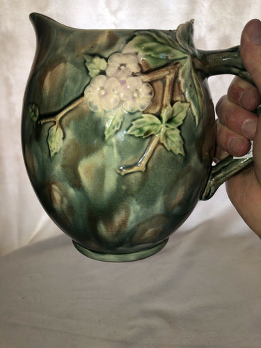 "Old Majolica ETRUSCAN Hawthorne Pitcher Nice Size & Beautiful 8"" Tall Patina"