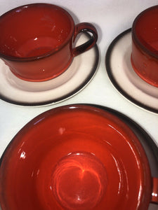 Metlox Poppytrail Red Rooster Set Of 4 Cups And Saucers Eames Era MCM Kitchen