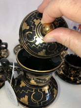Load image into Gallery viewer, Vintage Handmade Tea Set Brena Oaxaca Mexico Black Gold Geometric 20 Pieces