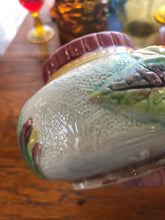"Load image into Gallery viewer, Vintage Majolica Small Pot with Lid Floral Art Nuevo About 4"" Tall 5"" Across Wow"