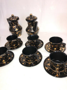 Vintage Handmade Tea Set Brena Oaxaca Mexico Black Gold Geometric 20 Pieces