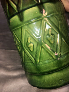 Antique Pitcher Majolica Green & Brown Drippy Glaze Fantastic Patina 9.5""