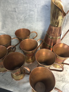 "Rare Vintage Copper Rivet Pitcher & 8 Cups Mugs Marked Taxco Mexico ""HA"" Signed"