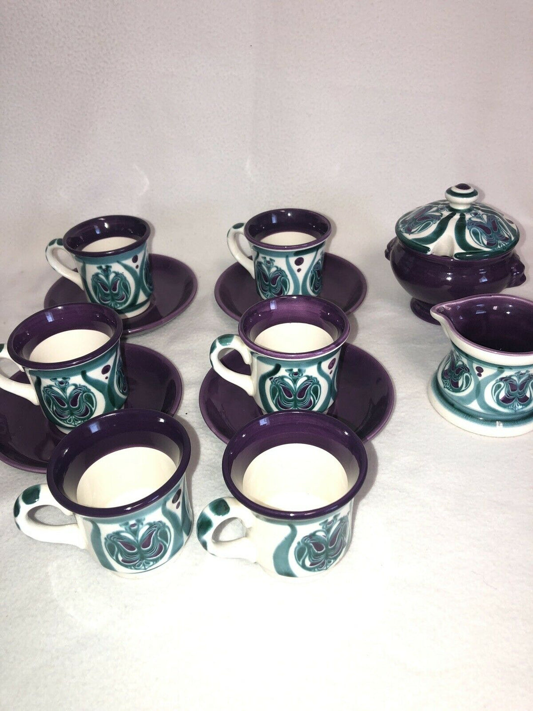 Rare Majolica Schramberg Ger. Violetta Cir 1915 Art Nouveau Mixed Lot 13 Pieces