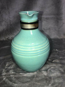 Pacific Potteries Coffee Carafe Light Blue Wooden Handle Marked Eames Era MCM
