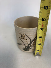 "Load image into Gallery viewer, Vintage Japanese Pottery Tea Cup Artist Signed On Bottom 4.25"" Tall 3.5"" Across"