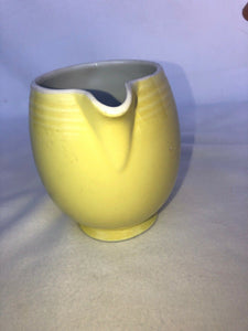 "1930s HALL CHINA Five Band 5 Band Pitcher Yellow 5"" Tall"