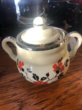 Load image into Gallery viewer, Hall China Red Poppy Vintage Sugar Bowl w/ Lid & Creamer Cream Pitcher Set AOP