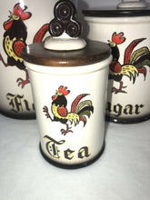 Load image into Gallery viewer, 1955 Metlox Poppytrail Rooster Cannister Set MCM Eames Era Atomic Kitchen Cool