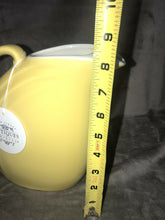 "Load image into Gallery viewer, Vintage Hall Canary Yellow Pitcher in Fantastic Condition 8.5"" Tall Mid Mod Cool"