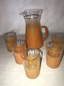 Vintage 6 Piece Blendo Orange/Clear Frosted Juice Pitcher & 5 Glasses Drink Set