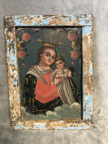 "Antique 1800s Our Lady Refuge of Sinners Mexican Tin Retablo 8.75"" x 12"""