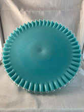Load image into Gallery viewer, Fenton Turquoise Milk Glass Cake Plate Outstanding Perfect Rare 1960s Eames Era