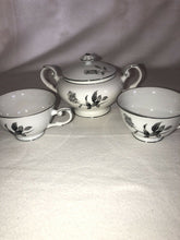 Load image into Gallery viewer, Nocturne by Yamaka Japan Fine China Gray Rose Pattern Sugar Bowl & 2 Cups