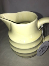 "Load image into Gallery viewer, Vintage Pottery Off White Pitcher 7"" Tall Nice Crazing To The Glaze"